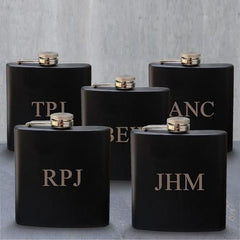 Set of 5 Personalized Black Matte Stainless Steel Groomsmen Flask-Groomsmen Gifts