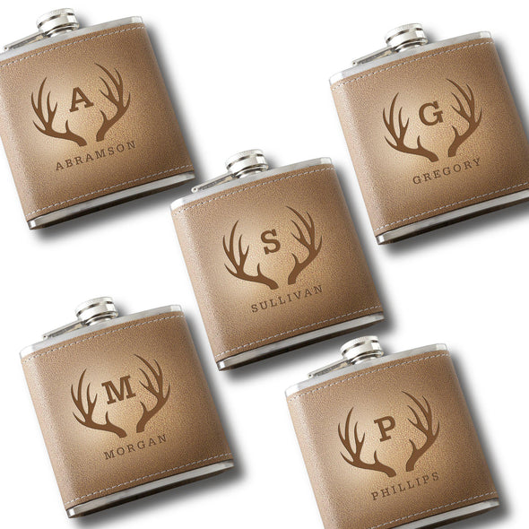 Personalized Set of 5 Engraved Tan Stitched-Hide Flasks for Groomsmen-Antlers-