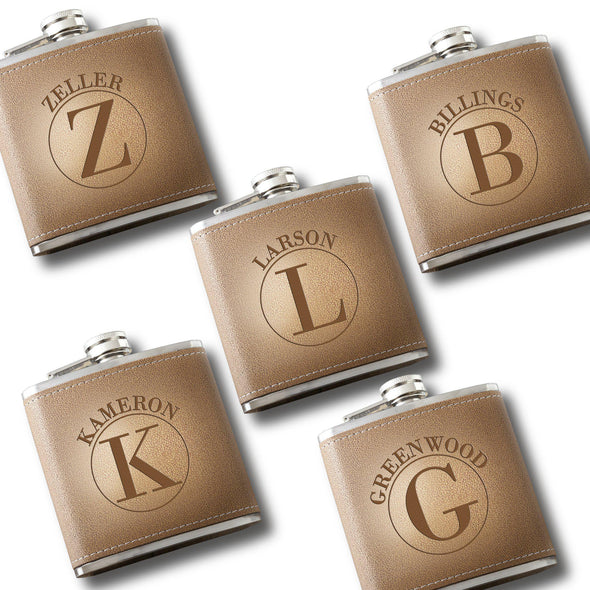 Personalized Set of 5 Engraved Tan Stitched-Hide Flasks for Groomsmen-Circle-