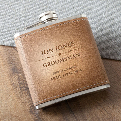 Groomsmen personalized Tan Hide Stitched Flask-Groomsmen Gifts
