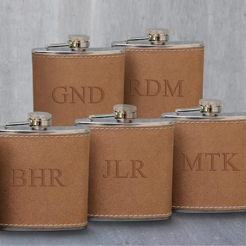 Personalized Set of 5 Engraved Tan Stitched-Hide Flasks for Groomsmen-3Initials-
