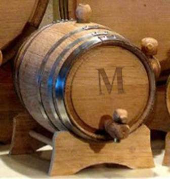 Personalized Set of 5 -  2 Liter Oak Whiskey Barrels