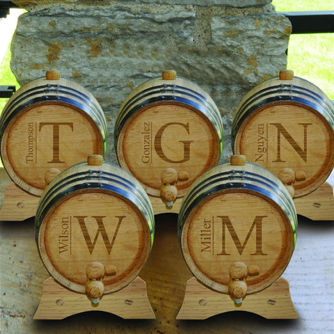 Monogrammed Set of 5 - 2 Liter Oak Whiskey Barrels-Groomsmen Gifts