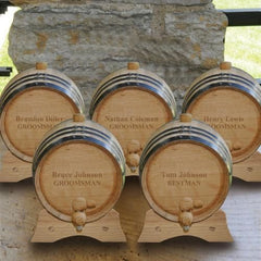 Personalized Set of 5 - 2 Liter Oak Whiskey Barrels-Groomsmen Gifts