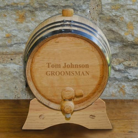 2- Liter Personalized Oak Whiskey Barrel-Groomsmen Gifts