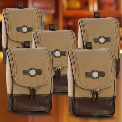 Personalized Canvas and Leather Shaving Travel Bags for Groomsmen - Set of 5-