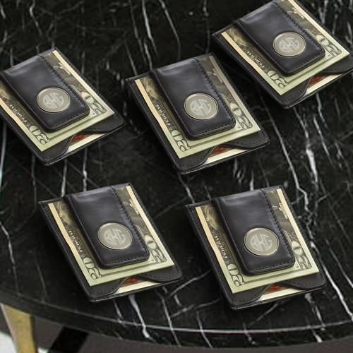 Groomsmen Gift Set of 5 Personalized Black Leather Wallet & Money Clip