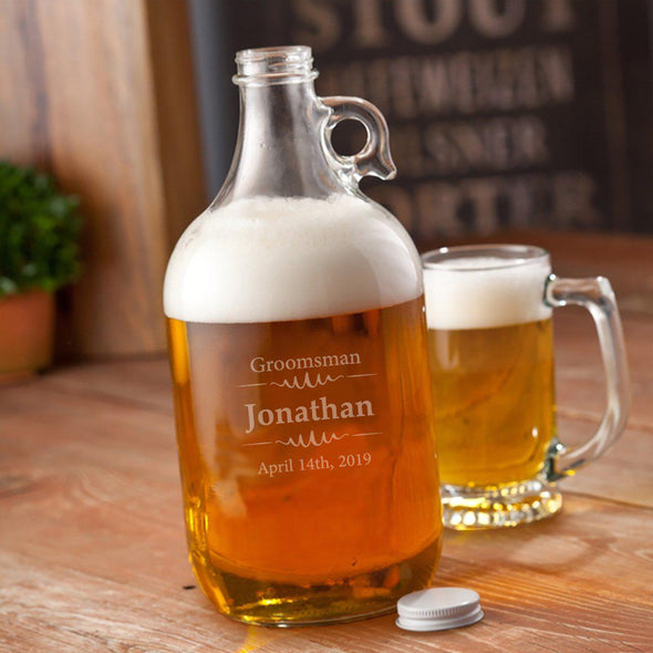 Personalized Groomsmen Beer Growler - 64 oz.