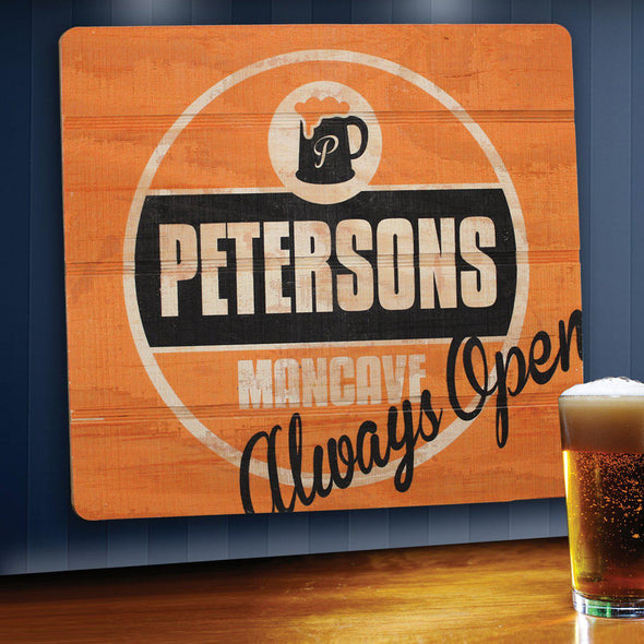 Personalized Bar Signs - Wooden Sign - Man Cave Signs-alwaysopen-