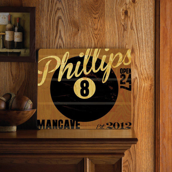 Personalized Bar Signs - Wooden Sign - Man Cave Signs-8ball-