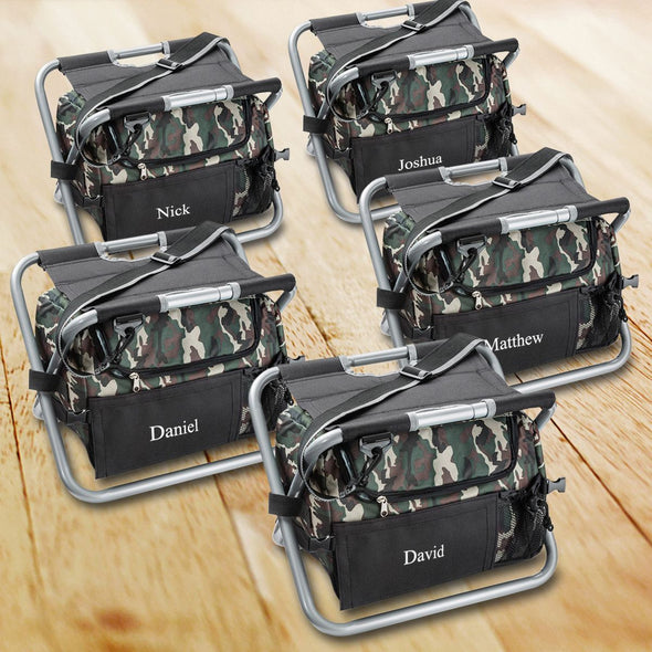 Personalized Set of 5 Camouflage Cooler Chair - Sit N Sip