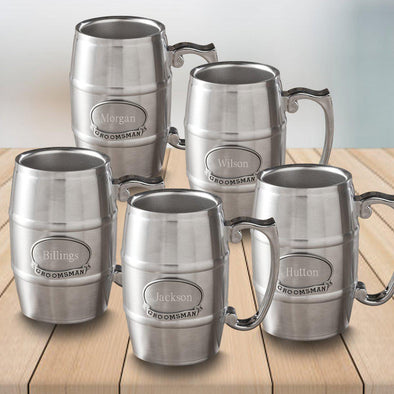Set of 5 Personalized Groomsmen Pewter Medallion Tankard Stainless Steel - 16 oz.