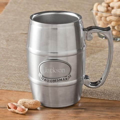 Personalized 16 oz. Beer Mug - Beer Tankard with Pewter Medallion-Groomsmen Gifts