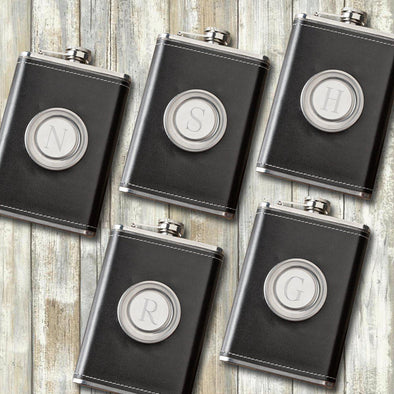 Groomsmen Set of 5 8 oz. Leather Flask with Folding Shot Glass