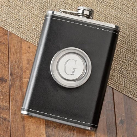 8oz Leather Flask with Folding Shot Glass-Groomsmen Gifts