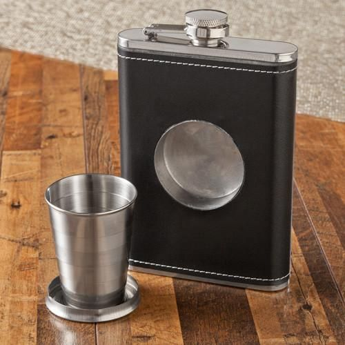 8 oz. Leather Flask with Folding Shot Glass-Default-