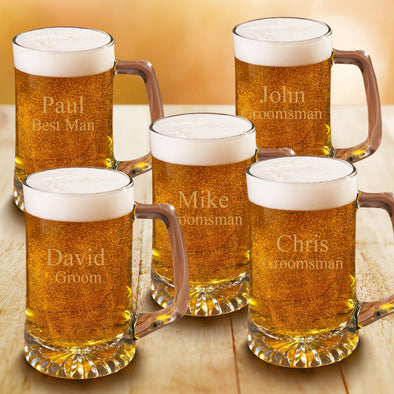Set of 5 Personalized Groomsmen 25 oz. Beer Mugs-Barware-JDS-