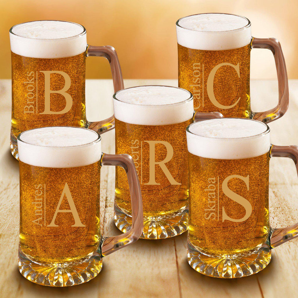Personalized Beer Mugs - Set of 5 - Groomsmen - Monogram - 25 oz.