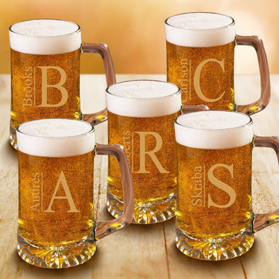 Personalized Groomsmen Monogram Beer Mugs Set of 5 - 25 oz.-Barware-JDS-Modern-