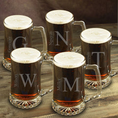 Monogrammed Set of 5 - Heavy Beer Mugs - 25oz-Groomsmen Gifts