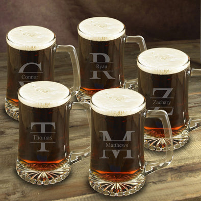 Personalized Beer Mugs - Set of 5 - Groomsmen - Monogram - 25 oz.-Stamped-
