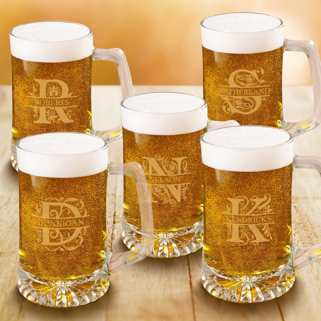 Personalized Groomsmen Monogram Beer Mugs Set of 5 - 25 oz.