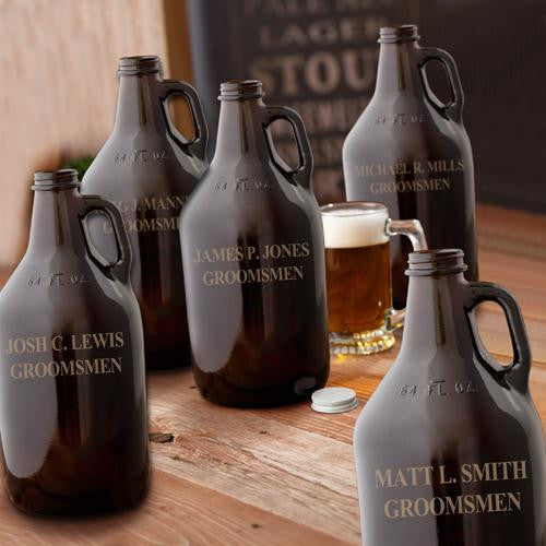 Personalized Groomsmen Amber Glass Growler - Set of 5