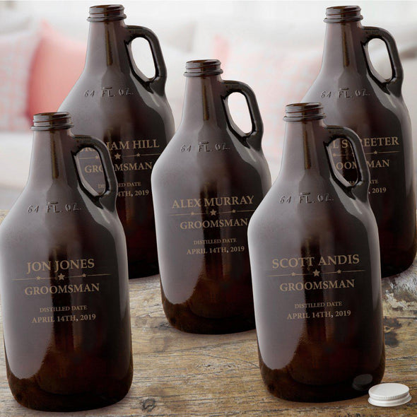 Personalized Set of 5  Groomsmen Amber Growler - Beer - 64 oz.
