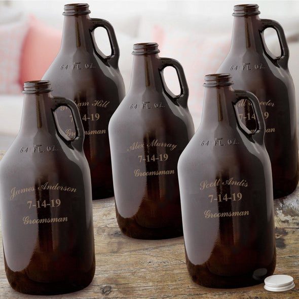 Personalized Set of 5 Groomsmen Amber Growlers - 64 oz.