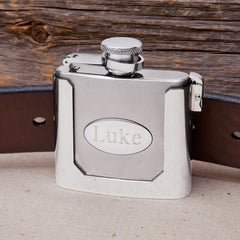 Personalized Belt Buckled Flask-