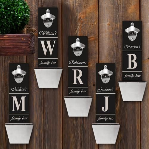 Personalized Set of 5 Wall Mounted Bottle Openers-Bar Accessories-JDS-
