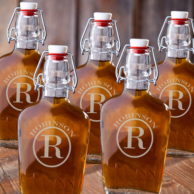 Personalized Glass Flasks for Groomsmen - Set of 5-Circle-