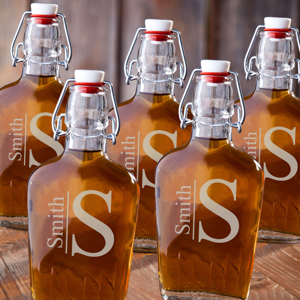 Personalized Glass Flasks for Groomsmen - Set of 5