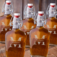 Monogrammed Glass Flasks - Set of 5-Groomsmen Gifts