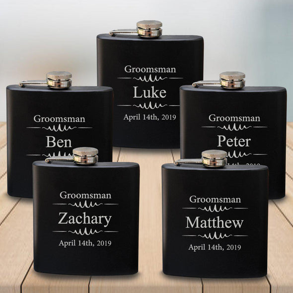 Groomsmen Set of 5 Black Matte Flask