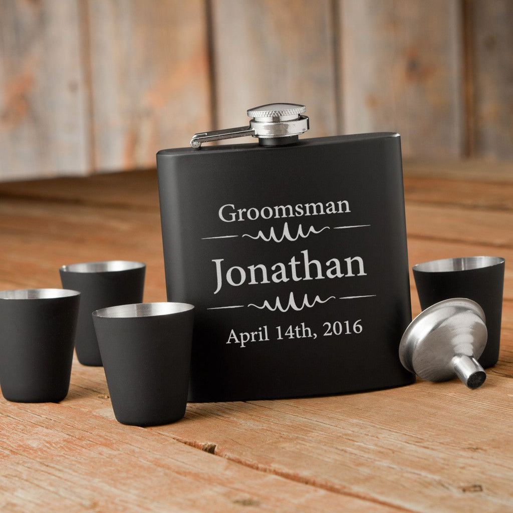Groomsmen Matte Black Flask and Shot Glass Set