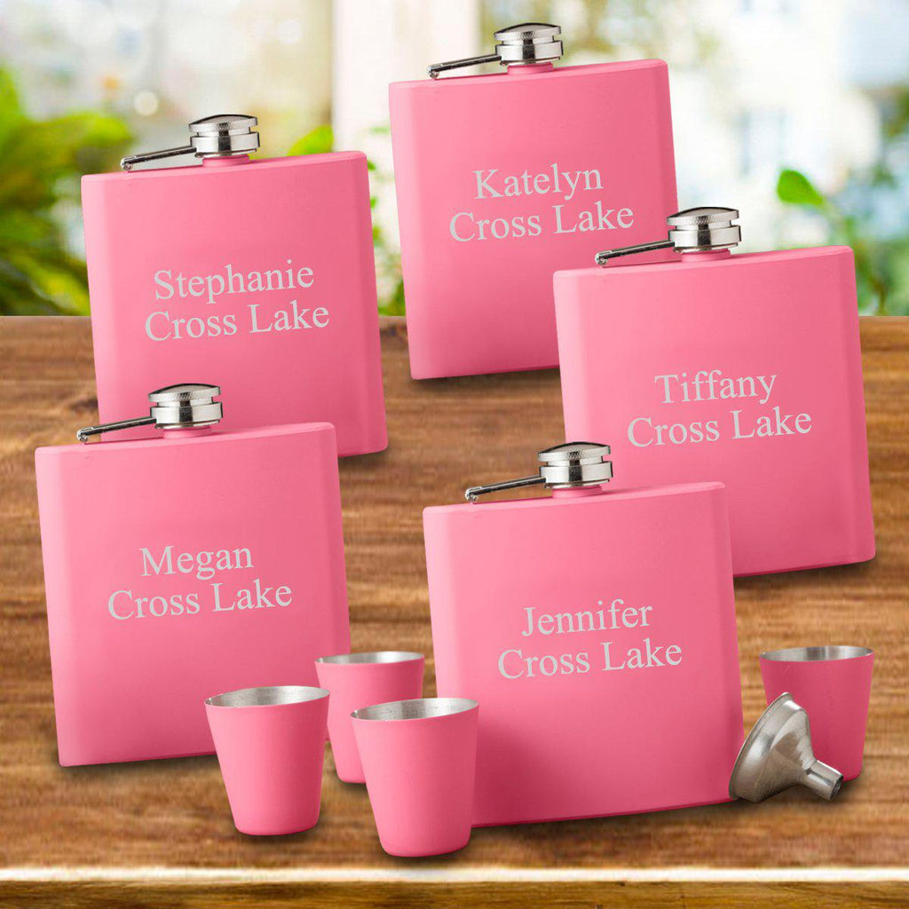Set of 5 Personalized Pink Flask & Shot Glass Gift Set