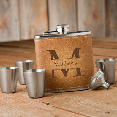 Durango Monogrammed Hide Stitch Flask & Shot Glass Box Set-Stamped-