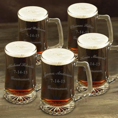 Personalized Groomsmen Glass Beer Mugs Set of 5 - 25 oz.-Barware-JDS-