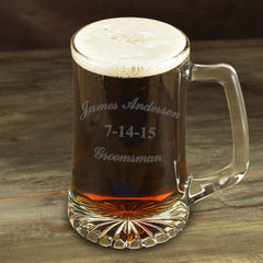 Set of 5 - 25 oz. Groomsmen Beer Mugs-Groomsmen Gifts