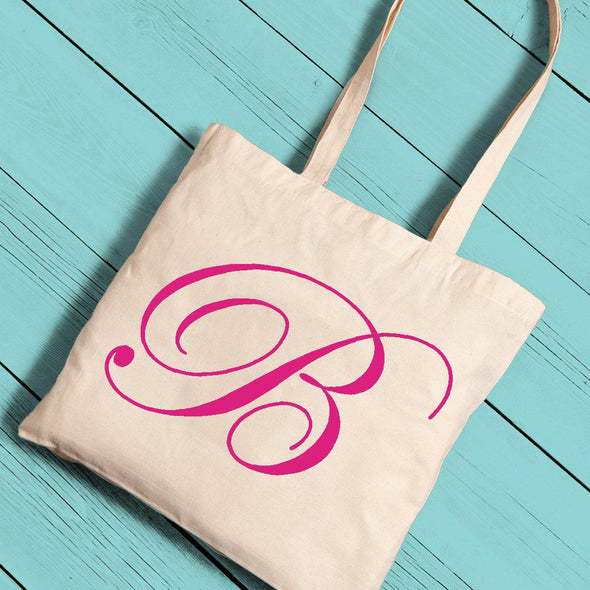 Personalized Canvas Tote - Initial-Pink-