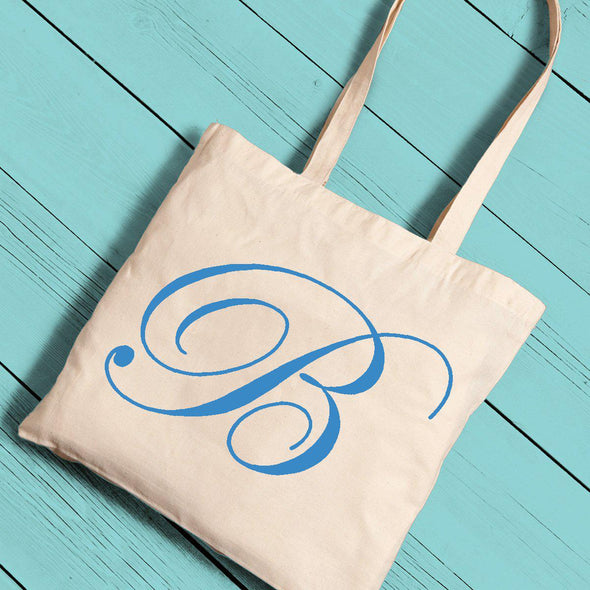 Personalized Canvas Tote - Initial-Blue-