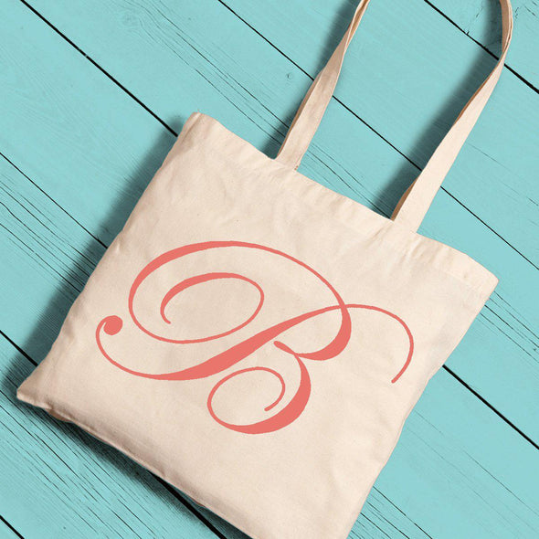 Personalized Canvas Tote - Initial-Peach-