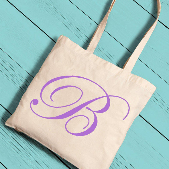 Personalized Canvas Tote - Initial-Purple-