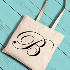 Personalized Canvas Tote - Initial-Black-