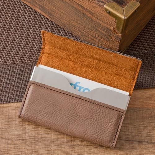 Personalized Mocha Business Card Case Set