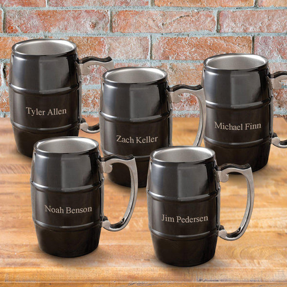 Set of 5 Personalized Black Beer Tankards - Stainless Steel - 16 oz.