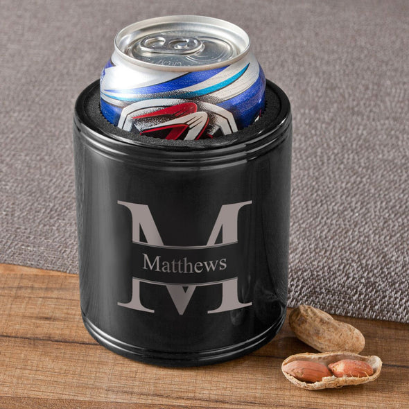 Personalized Can Coolers - Black - Stainless Steel - Groomsmen Gifts-Stamped Monogram-