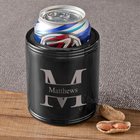 Monogrammed Black Metal Can Koozie