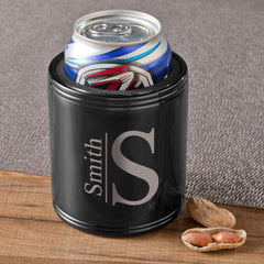 Personalized Can Coolers - Black - Stainless Steel - Groomsmen Gifts-Modern Monogram-